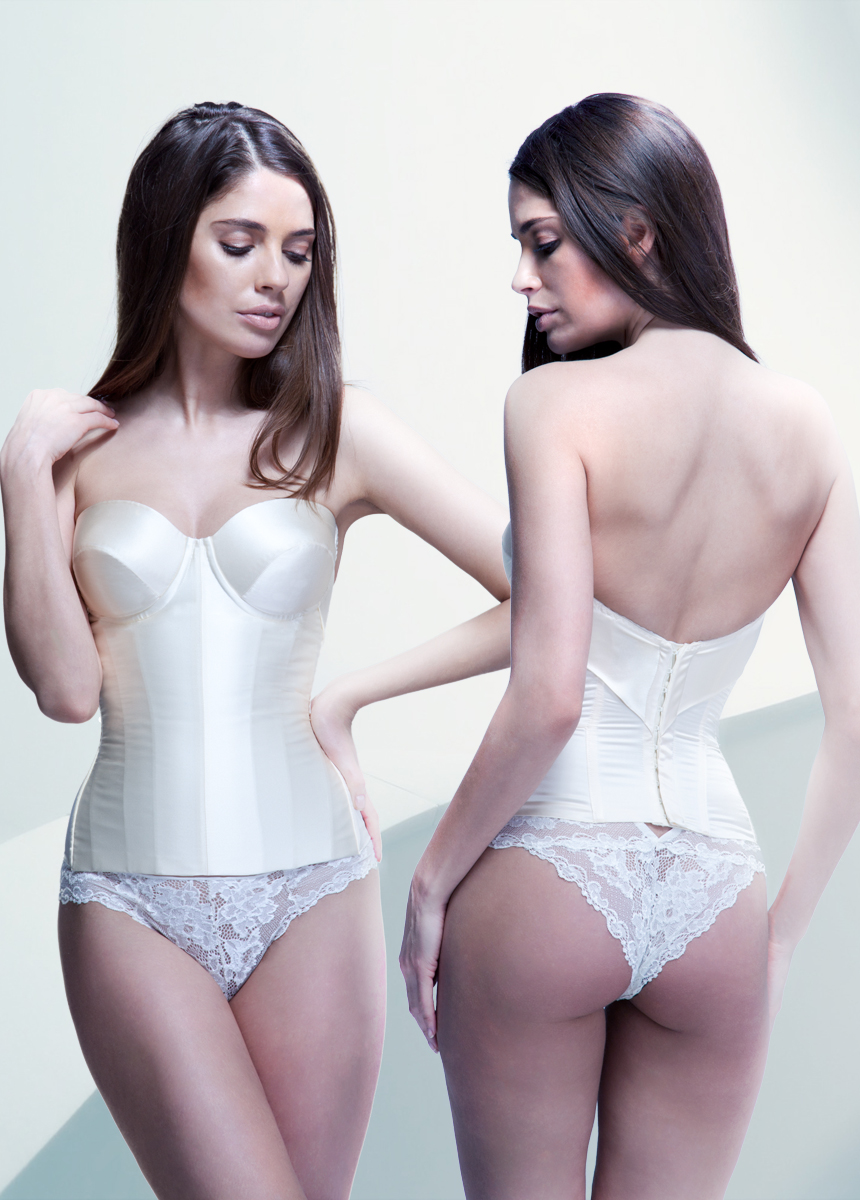 """0ebf8499ec6 AVA strapless underwired low back satin silk corset IVORY - Lusan Mandongus  Lace for a Midsummer. """""""