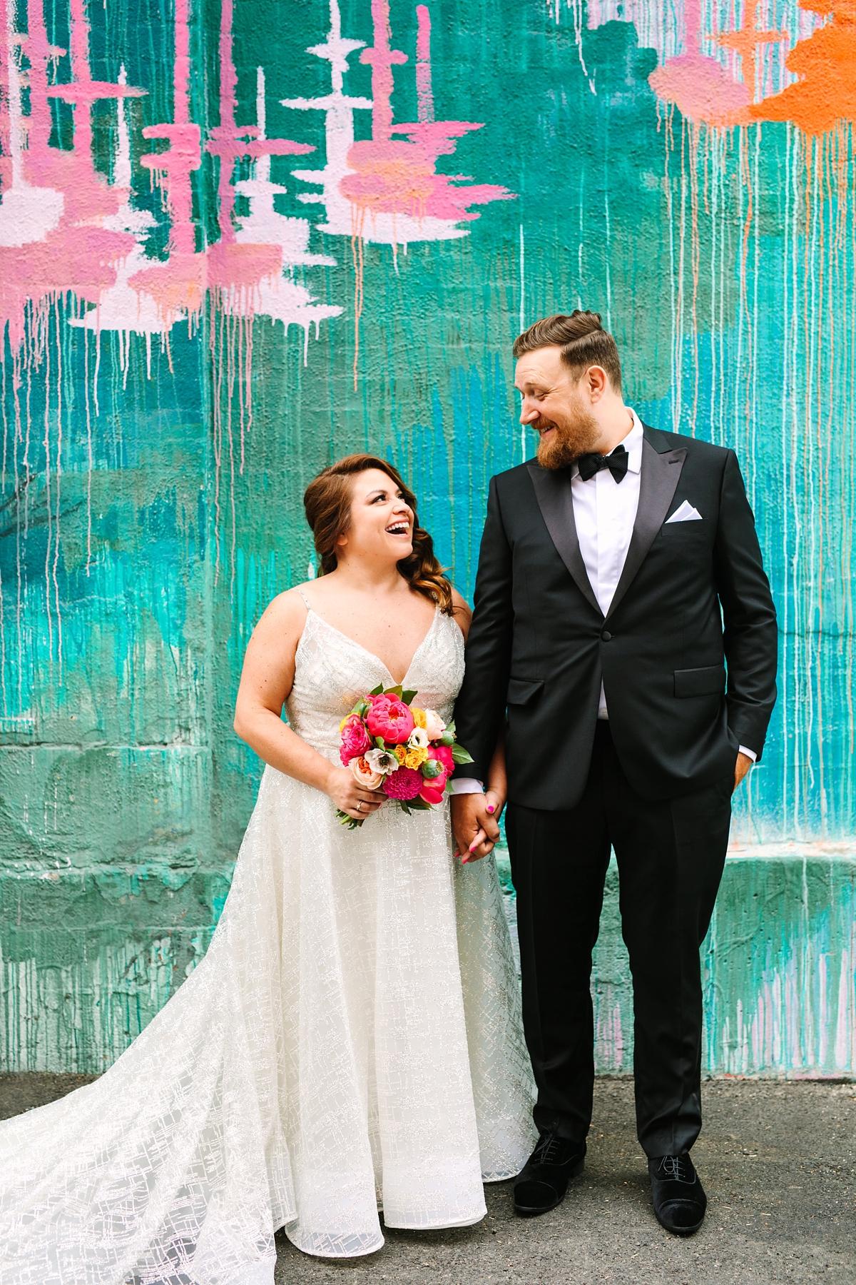 Colourful fun wedding Lazaro Perez curvy bride wedding dress  - A Stunning Curvy Bride + Her Colourful + Fun Tinder Love Story Wedding