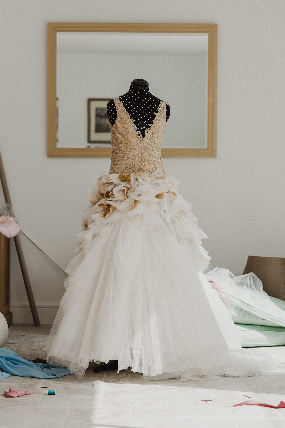 """3cd4fe375a7b Gold ruffled wedding dress - A Gold, Ruffled, Customised Vera Wang Gown for  an. """""""