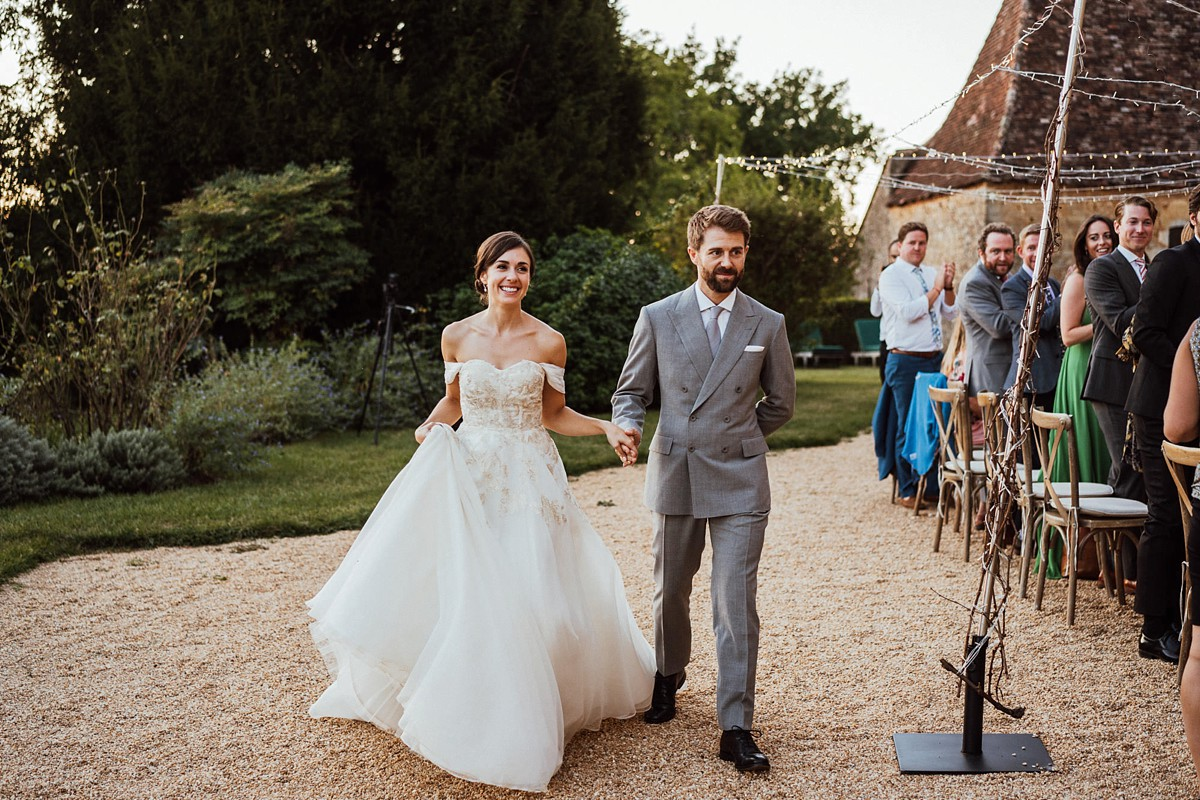 Outdoor French Chateau wedding Anne Barge dress - An Enchanting French Chateau Wedding With an Outdoor Feast