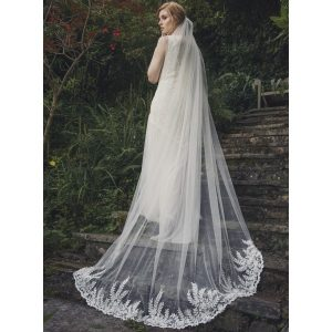 037500f117 Floral Embellished Chapel Length Veil x - Lace & Favour: The Perfect One- Stop