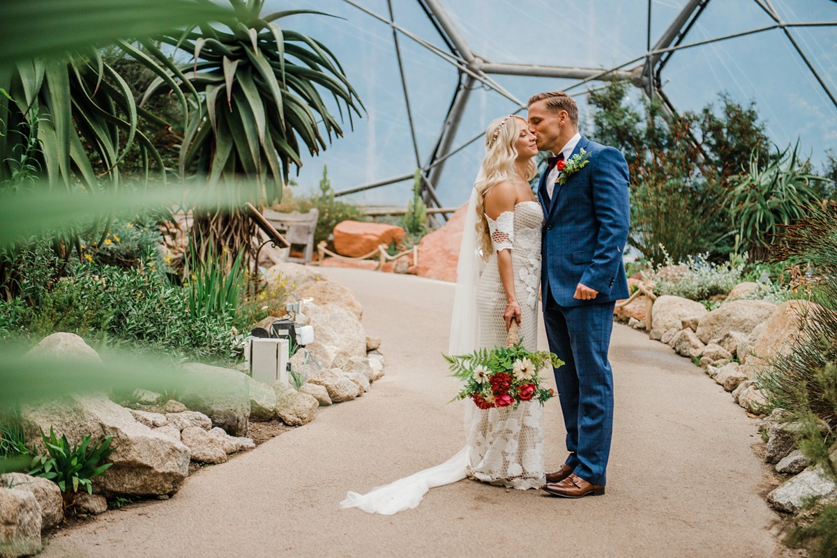 Rue de Seine bride vegan Eden Project wedding  - A Rue de Seine Dress for a Bohemian + Vegan Wedding at the Eden Project in Cornwall