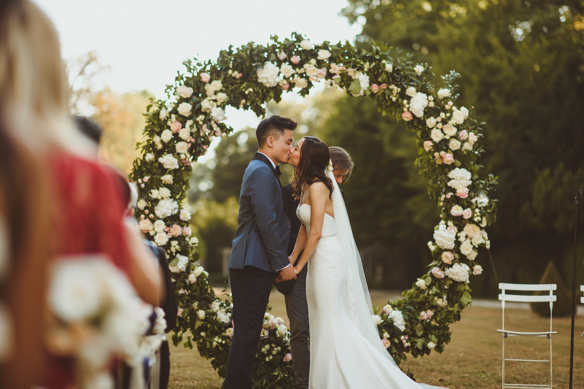 An Enzoani Bride + Her Elegant, Intimate French Garden Wedding With Chinese Traditions