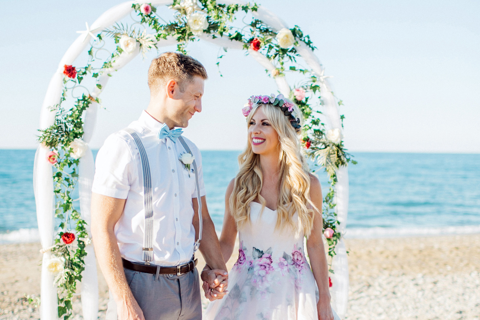 A Floral Sassi Holford Dress for Peach & Pastel Beach Wedding in Crete