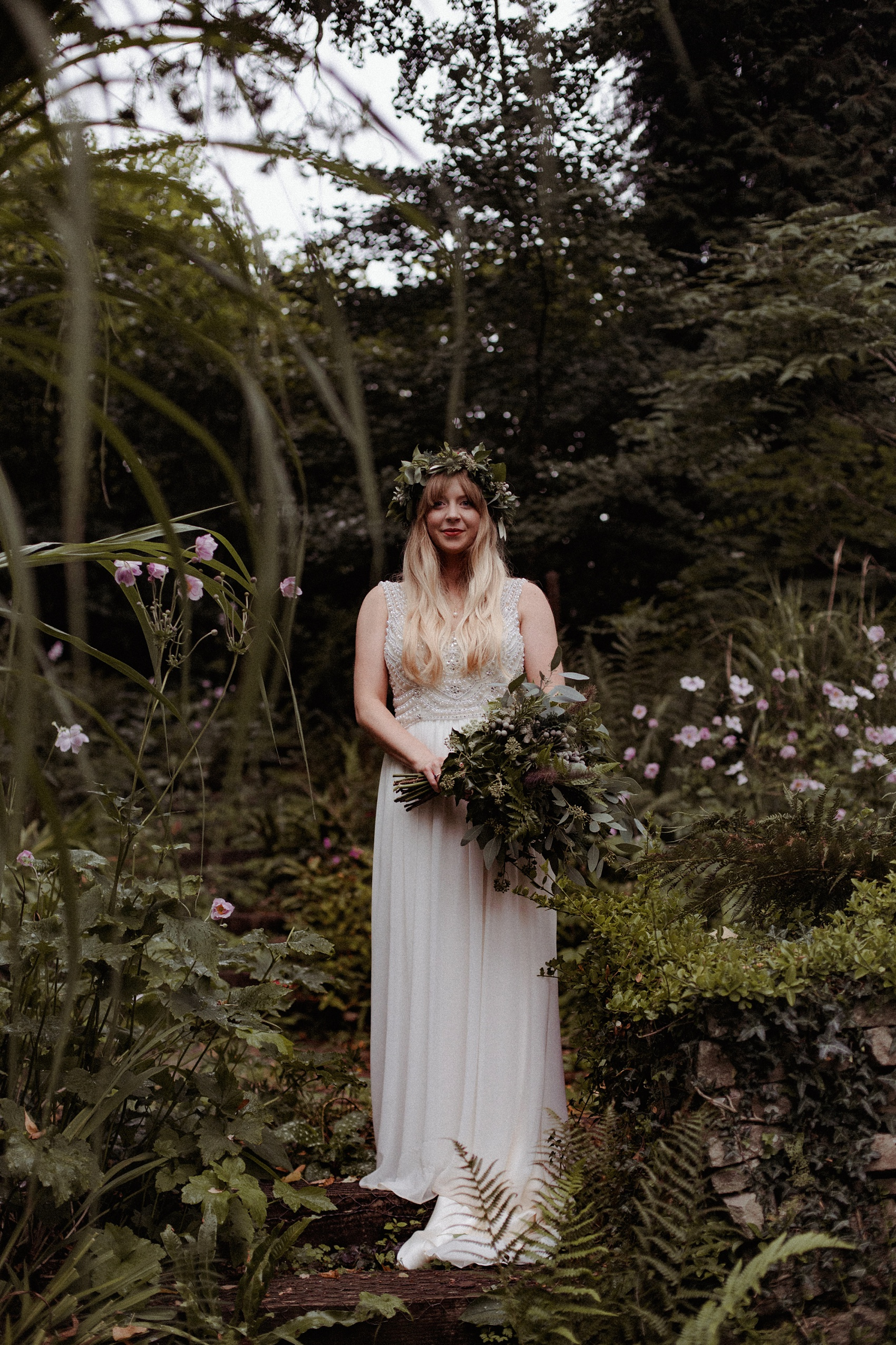 Lusan Mandongus dress colourful origami woodland wedding - 1000 Origami Paper Cranes + Hearts For A Festival Inspired Wedding