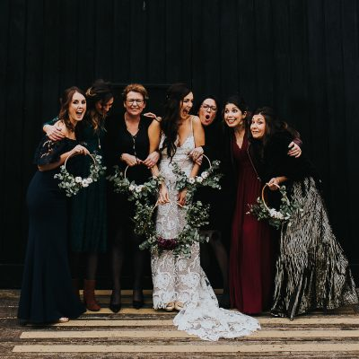 A Grace Loves Lace Dress + Floral Hoops for a Glamorous, DIY and Handcrafted Winter Barn Wedding