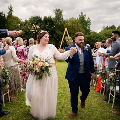 A Late Summer Meadow Wedding at Home with Pampas Grass + Paper Cranes
