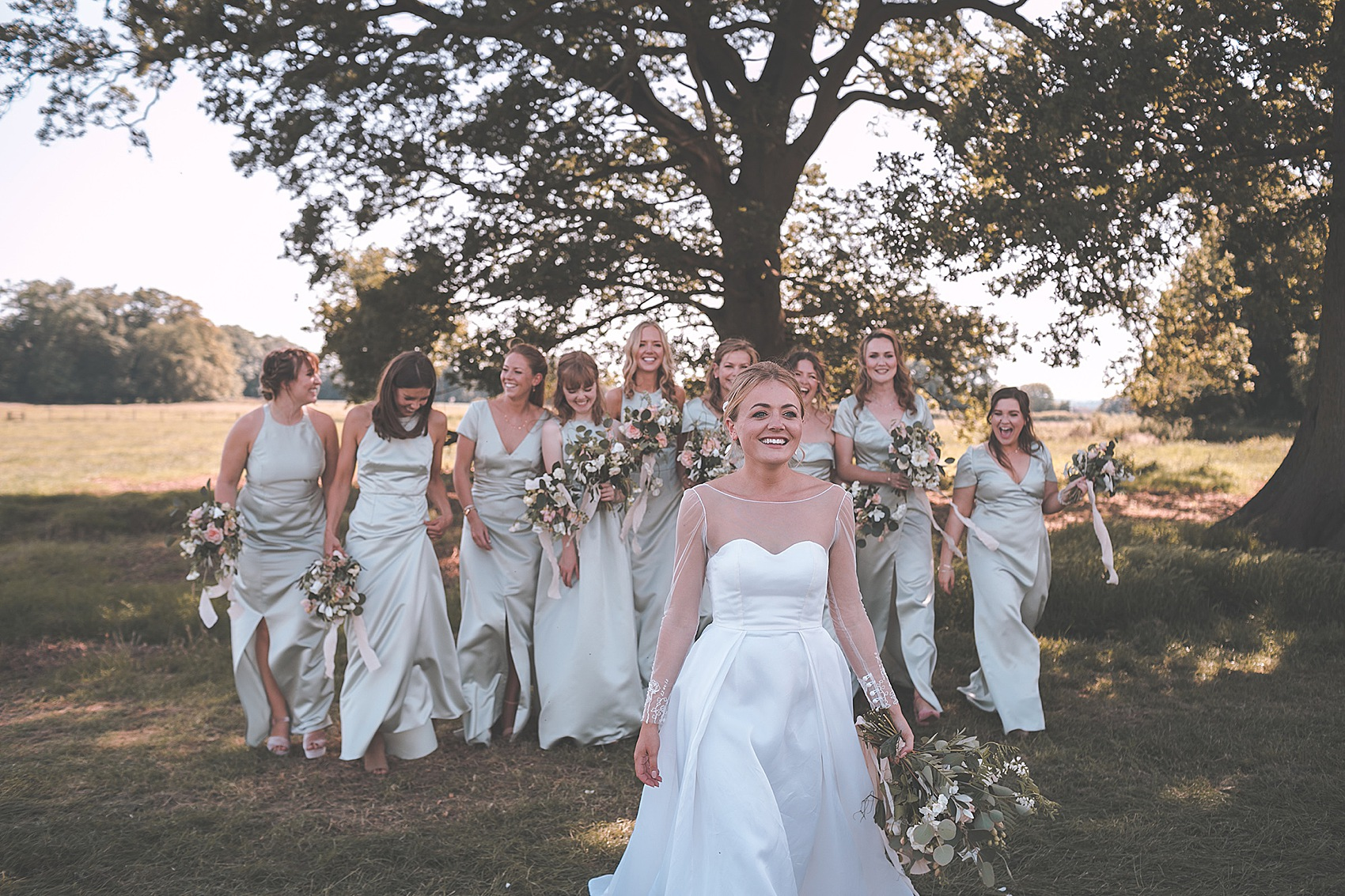 A Bride Her Maids In Sewn Right Dresses For A Classic English