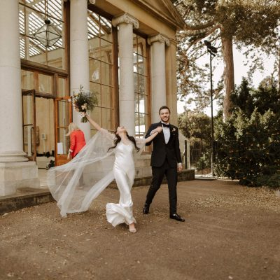 An Alexandra Grecco Cape & Ghost Dress for a Glamorous Black Tie & Botanical Wedding at Kew Gardens