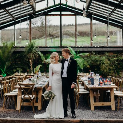 A Winter Solstice, Botanical Inspired Glasshouse Wedding at ANRAN, Devon for a Bride in Justin Alexander + a Sequin ASOS Jumpsuit