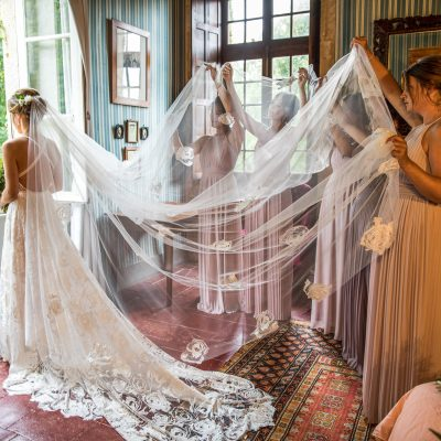 Two School Sweethearts at a Romantic French Chateau, with a Grace Loves Lace Dress