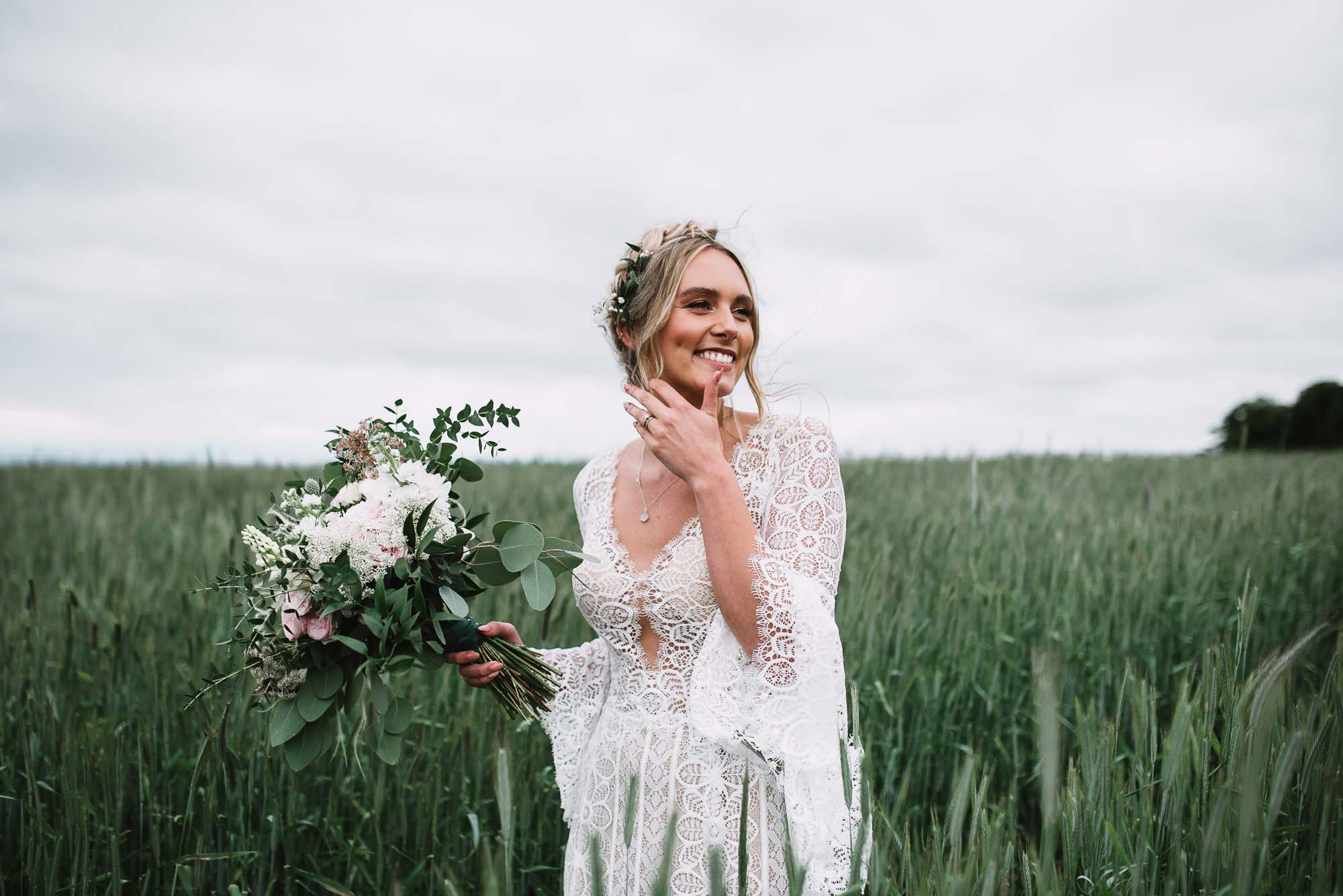 A Pratis Barn Wedding With Peacock Chairs, Floral Hoops + Boho ...